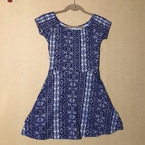 Blue Patterned Forever 21 Skater Dress - sz S